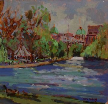 Eric Ward Original Oil Painting London Park Scene
